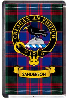 Sanderson Clan Tartan Fridge Magnet with Scottish Clan Crest on Clear Acrylic Rectangular Base