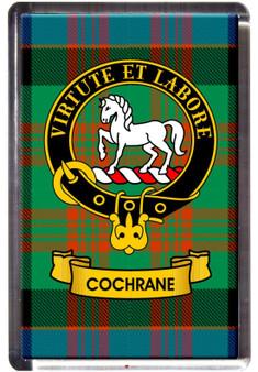 Cochrane Clan Tartan Fridge Magnet with Scottish Clan Crest on Clear Acrylic Rectangular Base
