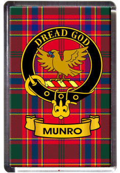 Munro Clan Tartan Fridge Magnet with Scottish Clan Crest on Clear Acrylic Rectangular Base