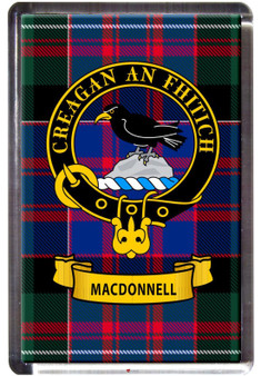 MacDonnell Clan Tartan Fridge Magnet with Scottish Clan Crest on Clear Acrylic Rectangular Base