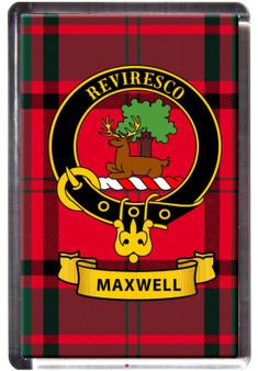 Maxwell Clan Tartan Fridge Magnet with Scottish Clan Crest on Clear Acrylic Rectangular Base
