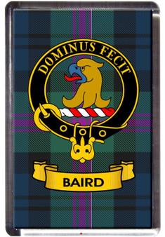 Baird Clan Tartan Fridge Magnet with Scottish Clan Crest on Clear Acrylic Rectangular Base
