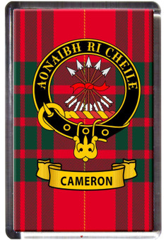 Cameron Clan Tartan Fridge Magnet with Scottish Clan Crest on Clear Acrylic Rectangular Base
