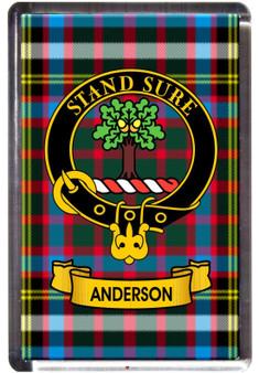 Anderson Clan Tartan Fridge Magnet with Scottish Clan Crest on Clear Acrylic Rectangular Base