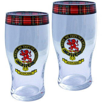 Scotland Clan Traditional Scottish Pint Beer Glasses Pair Tartan Band and Crest
