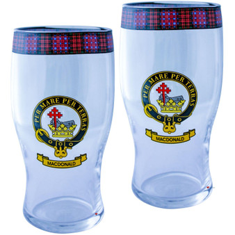 MacDonald Clan Traditional Scottish Pint Beer Glasses Pair Tartan Band and Crest
