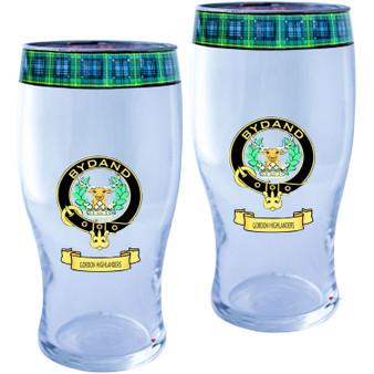 Gordon Highlanders Clan Traditional Scottish Pint Beer Glasses Pair Tartan Band and Crest
