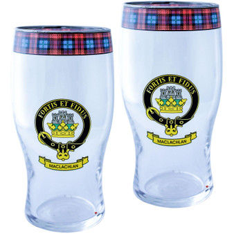 MacLachlan Clan Traditional Scottish Pint Beer Glasses Pair Tartan Band and Crest