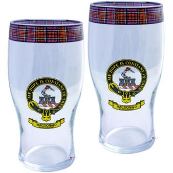 MacDonald Clan Ranald Clan Traditional Scottish Pint Beer Glasses Pair Tartan Band and Crest
