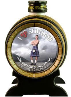 Miniature Malt Whisky Barrel I Love Scotland Kilt ideal Gift