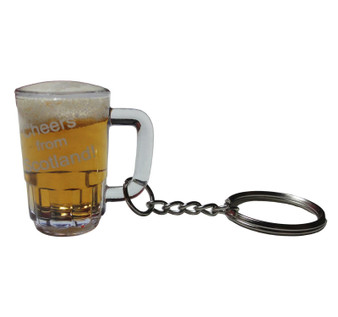Keyring Novelty Beer Mug Cheers From Scotland