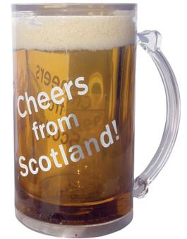 1 pt Novelty Fun Everlasting Beer Mug Freeze Beer Looks Full Cheers From Scotland