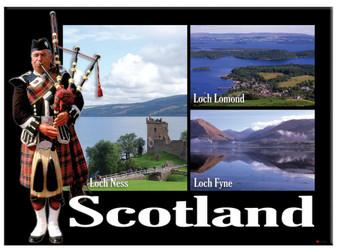 Scottish Piper Loch Ness Montage Scenic Metallic Magnet