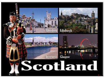 Scottish Piper Scottish Cities Montage Scenic Metallic Magnet