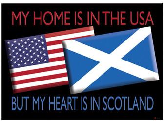 Usa Flag and Scotland Saltire Flag Metallic Magnet