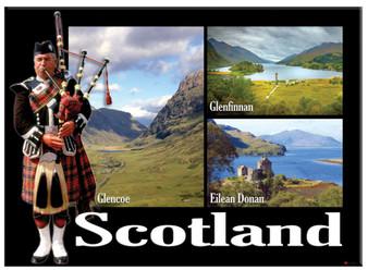Scottish Piper Glencoe Montage Scenic Metallic Magnet