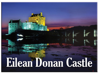 Eilean Donan Castle By Night Scenic Metallic Magnet