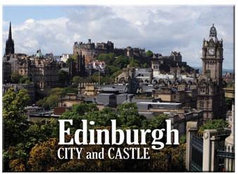 Edinburgh City and Castle Scenic Metallic Magnet
