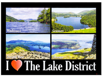 I Love The Lake District Lake Montage Picture Metallic Magnet