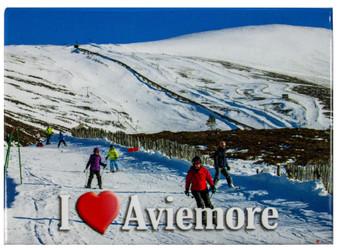 Aviemore I Love Skiing View Metallic Magnet