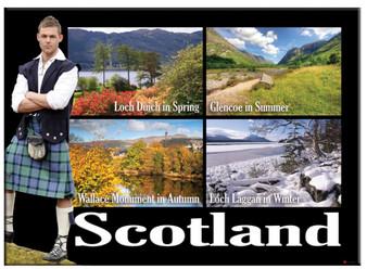 Scotland Kilted Lochs Scenic Montage Metallic Magnet