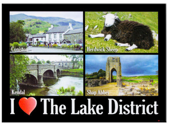 I Love The Lake District Town and Shap Abbey Montage Picture Metallic Magnet