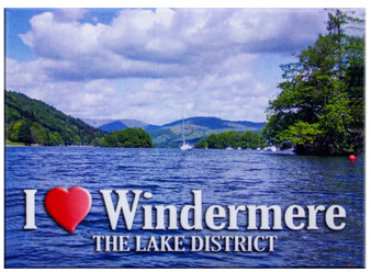 I Love Windermere The Lake District Picture Metallic Magnet