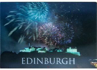 Edinburgh Fireworks over the Castle Fridge Magnet 3D Hologram Lenticular Effect