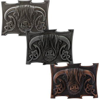 Pewter Highland Coo Cow Kilt Buckle 3 Styles Scottish Made