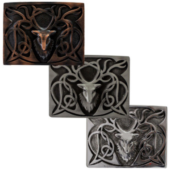 Pewter Stag Kilt Buckle 3 Colour Finishes Scottish Made