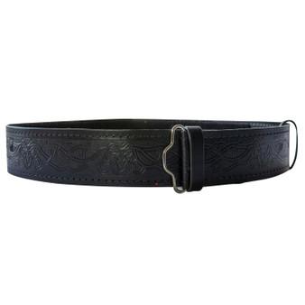 """Celtic Stag Hide Leather Velcro Kilt Belt 2.25"""" Wide Scottish Made"""