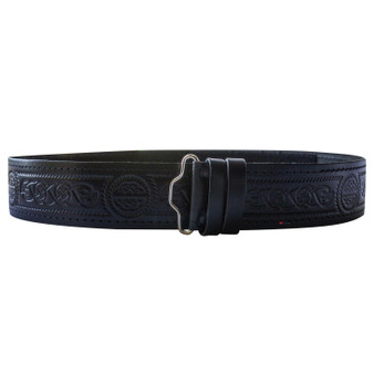"Celtic Serpent Hide Leather Velcro Kilt Belt 2.25"" Wide Scottish Made"