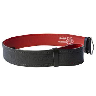 """Lined Celtic Knot Leather Hide Kilt Belt 2.25"""" Wide"""