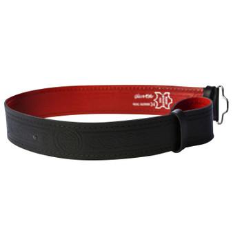 """Lined Celtic Serpent Leather Hide Kilt Belt 2.25"""" Wide Scottish Made"""