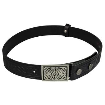 "Celtic Knot Leather Trouser Belt Snap & Rectangular Buckle Set 1.5"""