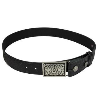 "Celtic Thistle Leather Trouser Belt Snap & Rectangular Buckle Set 1.5"""