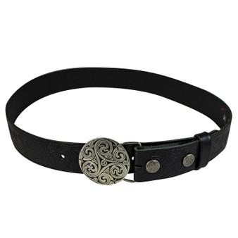 """Celtic Stag Leather Trouser Belt Snap & Triskel Buckle Set 1.5"""""""