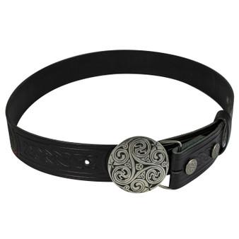 """Celtic Knot Trouser Belt Snap & Triskel Buckle Set 1.5"""""""
