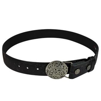 """Celtic Thistle Leather Trouser Belt Snap & Triskel Buckle Set 1.5"""""""