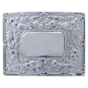 """Pipers Ceremonial Buckle Rectangular Centre Polished Chrome 2.5"""""""