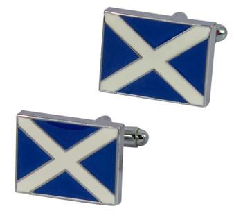 Saltire Scotland Flag Cufflinks in Enamel Blue