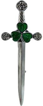 Irish Shamrock Kilt Pin in Polished Finish