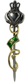 Claddagh & Shamrock Kilt Pin Polished-Gilt Plate Finish