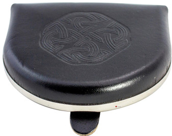 Scottish Traditional Coin Wallet Utility Pouch Black Leather Embossed Celtic Knot
