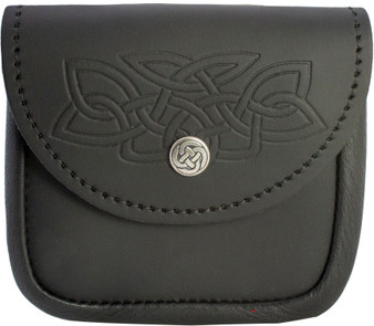 Scottish Traditional Utility Pouch Celtic Knot Lid Embossed Lid
