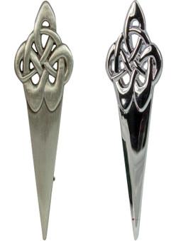 Celtic Swirl Kilt Pin Chrome and Antique Finish 2 styles