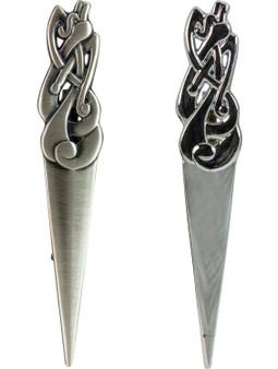 Celtic Serpent Kilt Pin Chrome and Antique Finish 2 styles