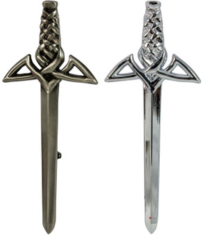 Modern Claymore Kilt Pin Chrome and Antique Finish 2 styles
