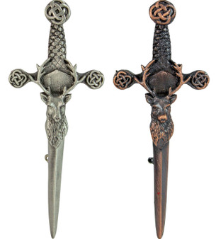 Mens Kilt Pin Stag On Claymore Sword Pewter 4in Made In Scotland