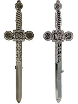 Mens Kilt Pin Celtic Sword Chrome and Antique Finish 2 styles